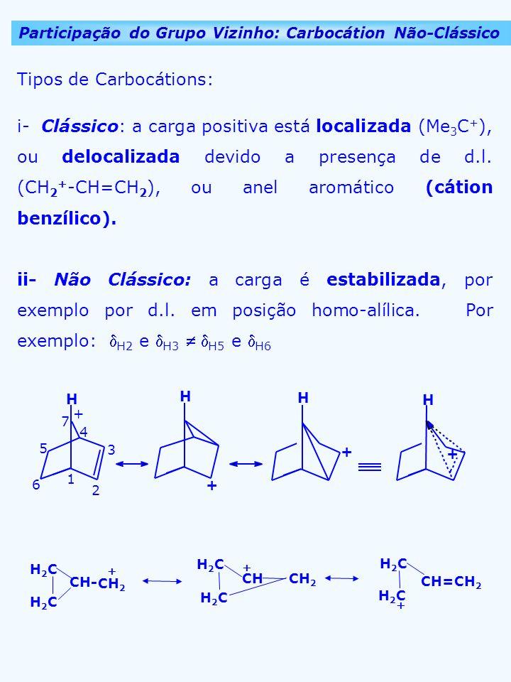 Participação do Grupo Vizinho: Carbocátion Não-Clássico Tipos de Carbocátions: i- Clássico: a carga positiva está localizada (Me 3 C + ), ou delocaliz
