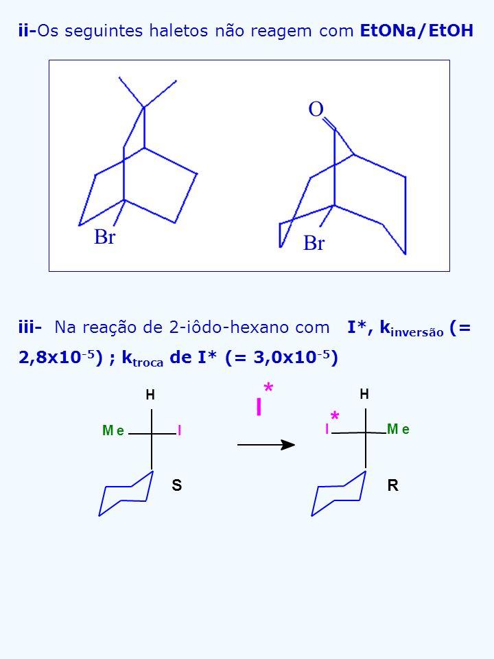 ii-Os seguintes haletos não reagem com EtONa/EtOH iii- Na reação de 2-iôdo-hexano com I*, k inversão (= 2,8x10 -5 ) ; k troca de I* (= 3,0x10 -5 ) RS
