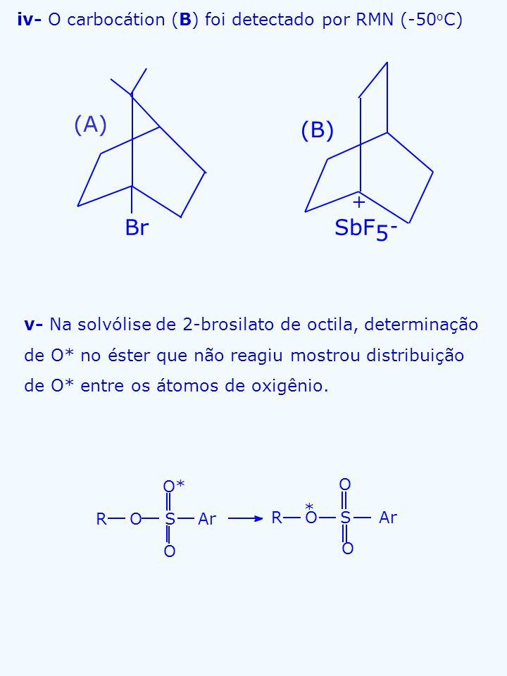 iv- O carbocátion (B) foi detectado por RMN (-50 o C) v- Na solvólise de 2-brosilato de octila, determinação de O* no éster que não reagiu mostrou dis