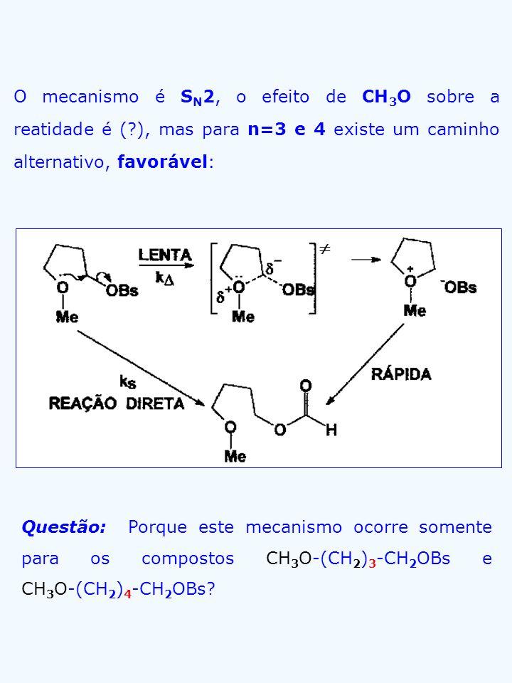 Questão: Porque este mecanismo ocorre somente para os compostos CH 3 O-(CH 2 ) 3 -CH 2 OBs e CH 3 O-(CH 2 ) 4 -CH 2 OBs? O mecanismo é S N 2, o efeito
