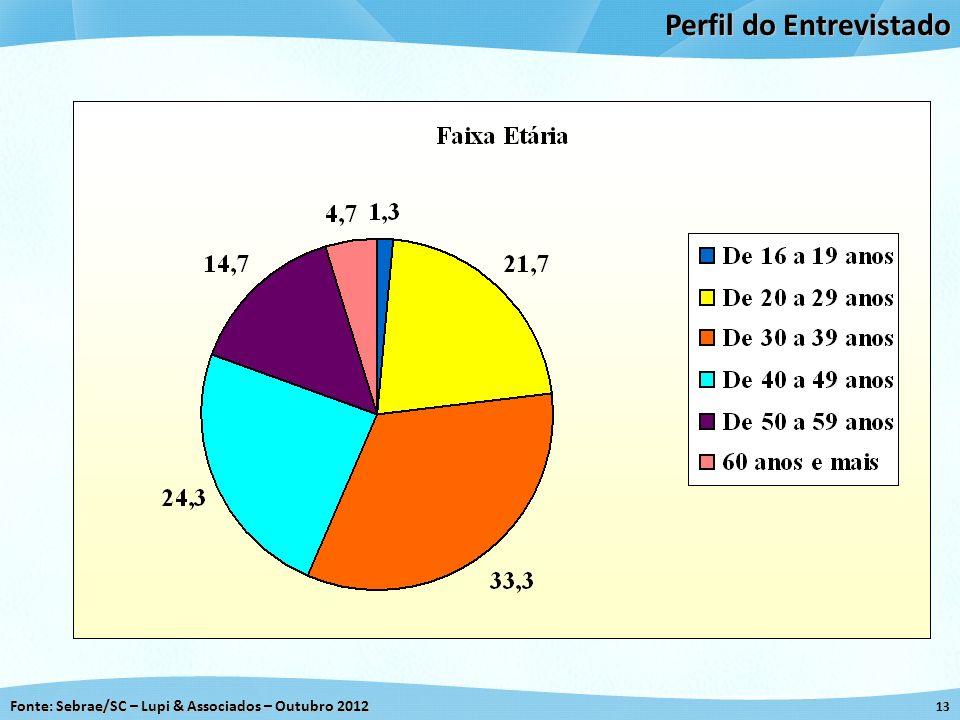 Fonte: Sebrae/SC – Lupi & Associados – Outubro 2012 13 Perfil do Entrevistado
