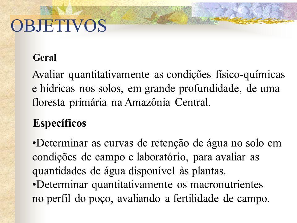OBJETIVOS Geral Avaliar quantitativamente as condições físico-químicas e hídricas nos solos, em grande profundidade, de uma floresta primária na Amazô