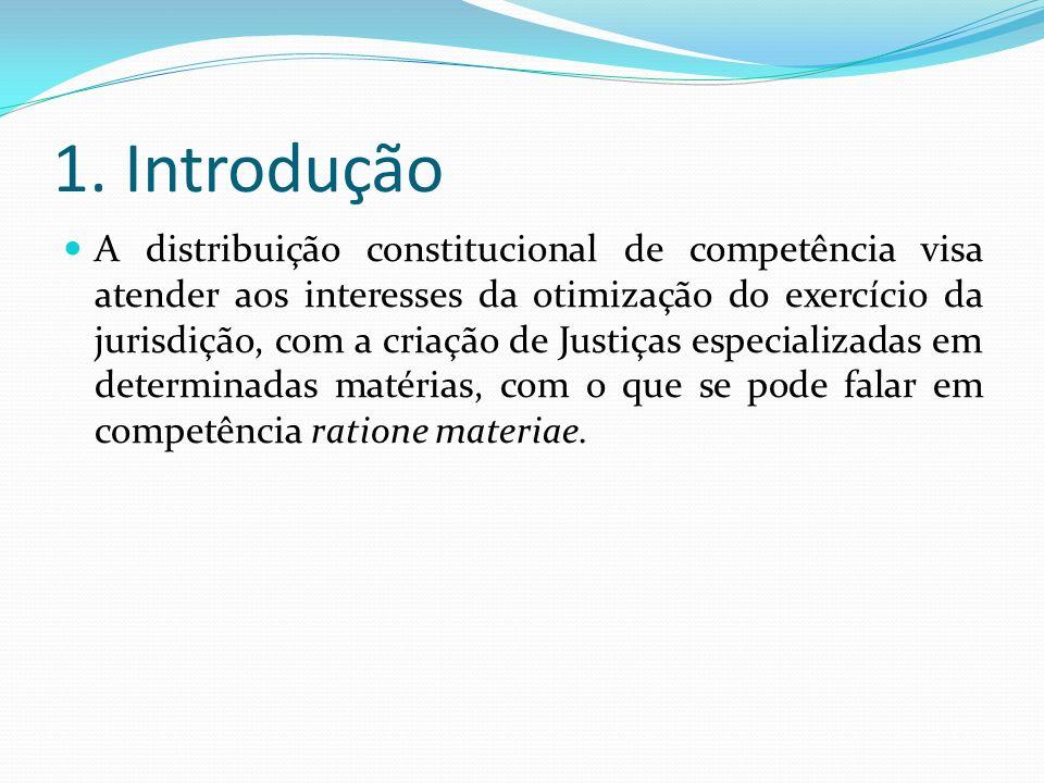 1. Introdução A distribuição constitucional de competência visa atender aos interesses da otimização do exercício da jurisdição, com a criação de Just