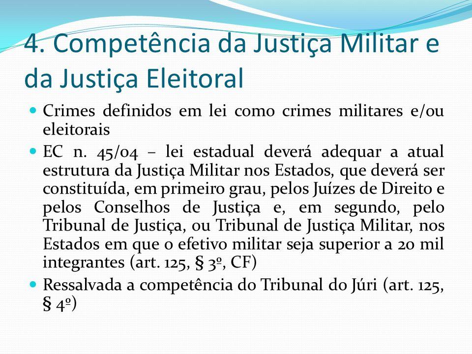 4. Competência da Justiça Militar e da Justiça Eleitoral Crimes definidos em lei como crimes militares e/ou eleitorais EC n. 45/04 – lei estadual deve