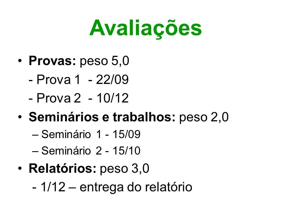 Avaliações Provas: peso 5,0 - Prova 1 - 22/09 - Prova 2 - 10/12 Seminários e trabalhos: peso 2,0 –Seminário 1 - 15/09 –Seminário 2 - 15/10 Relatórios: