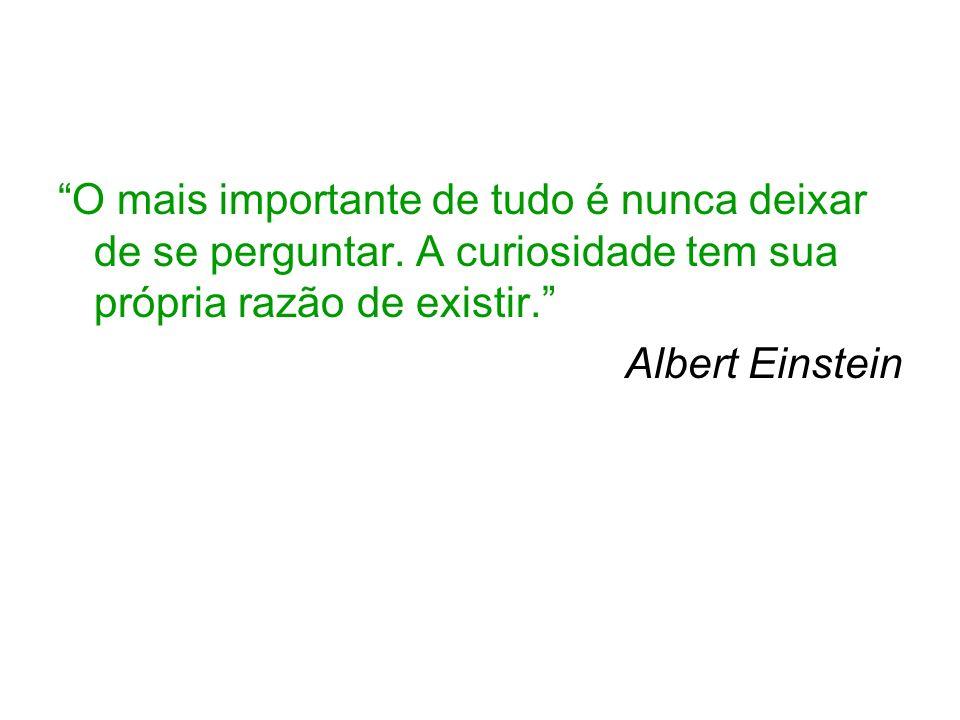 O mais importante de tudo é nunca deixar de se perguntar. A curiosidade tem sua própria razão de existir. Albert Einstein