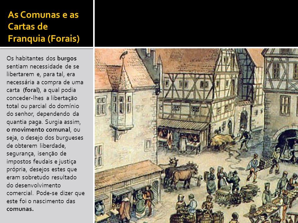 As Comunas e as Cartas de Franquia (Forais) Os habitantes dos burgos sentiam necessidade de se libertarem e, para tal, era necessária a compra de uma