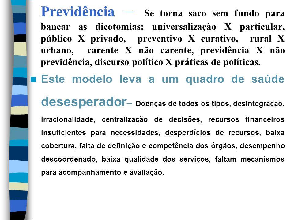 Previdência – Se torna saco sem fundo para bancar as dicotomias: universalização X particular, público X privado, preventivo X curativo, rural X urban