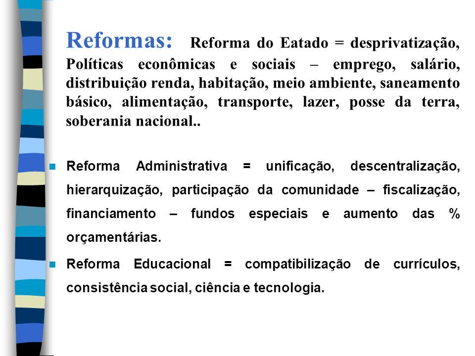 Reformas: Reforma do Eatado = desprivatização, Políticas econômicas e sociais – emprego, salário, distribuição renda, habitação, meio ambiente, saneam
