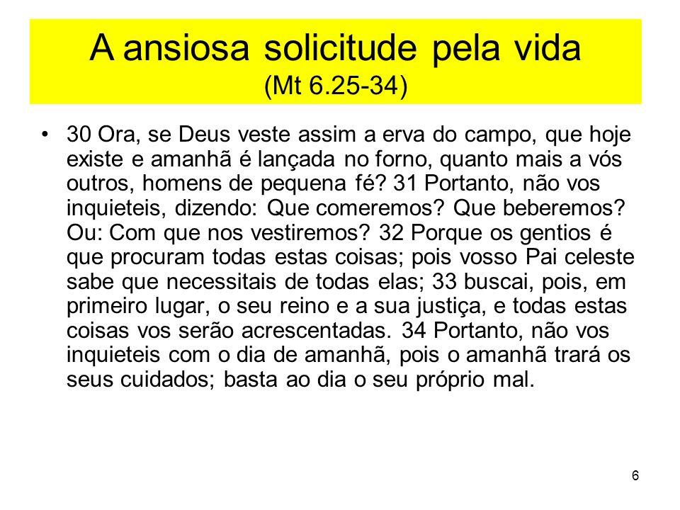 27 A lição essencial: Deus cuida de nós.