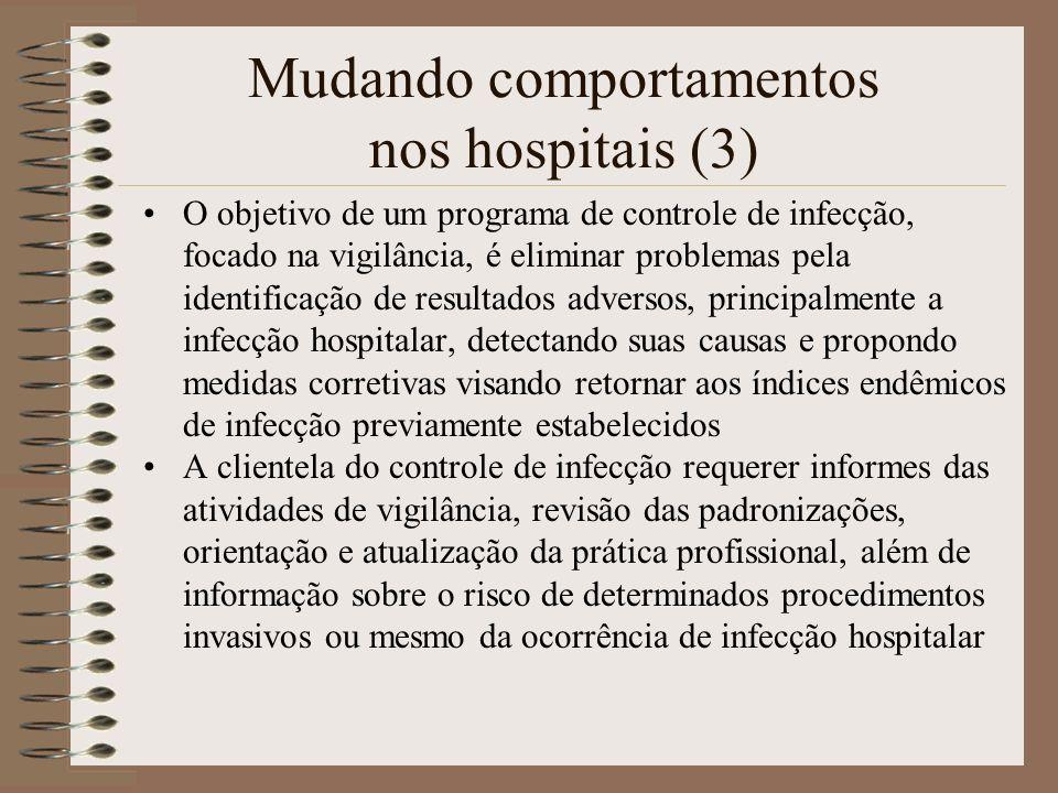 Mudando comportamentos nos hospitais (3) O objetivo de um programa de controle de infecção, focado na vigilância, é eliminar problemas pela identifica