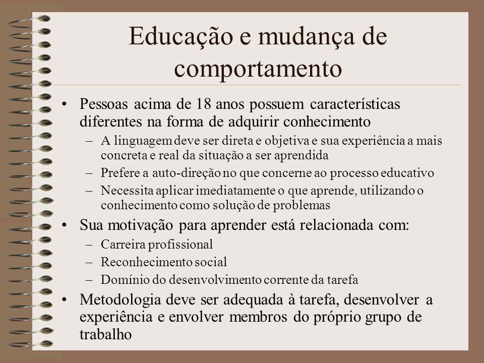 Educação e mudança de comportamento Pessoas acima de 18 anos possuem características diferentes na forma de adquirir conhecimento –A linguagem deve se