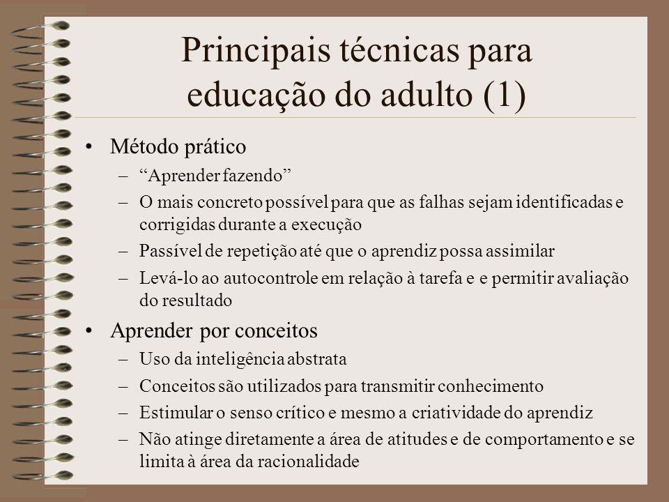 Principais técnicas para educação do adulto (1) Método prático –Aprender fazendo –O mais concreto possível para que as falhas sejam identificadas e co