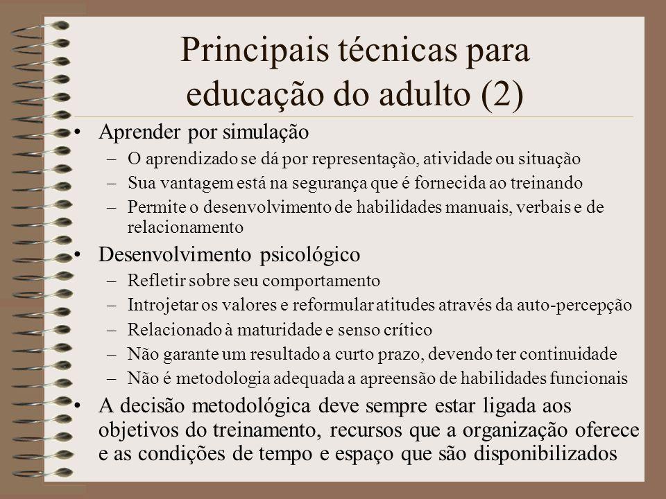 Principais técnicas para educação do adulto (2) Aprender por simulação –O aprendizado se dá por representação, atividade ou situação –Sua vantagem est