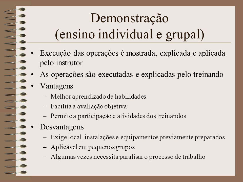Demonstração (ensino individual e grupal) Execução das operações é mostrada, explicada e aplicada pelo instrutor As operações são executadas e explica