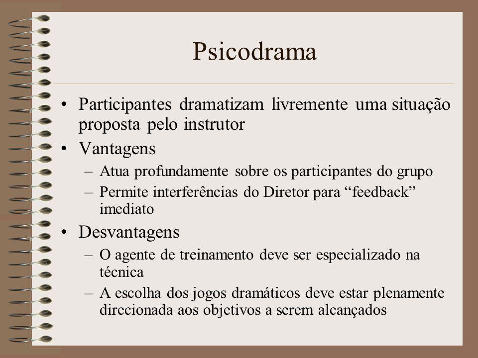 Psicodrama Participantes dramatizam livremente uma situação proposta pelo instrutor Vantagens –Atua profundamente sobre os participantes do grupo –Per