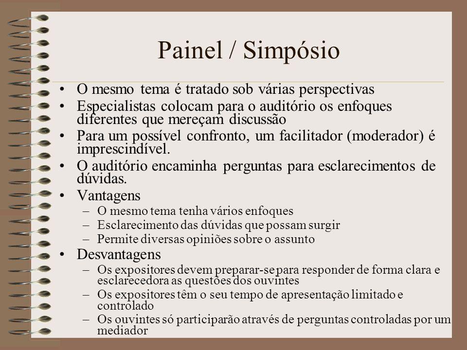 Painel / Simpósio O mesmo tema é tratado sob várias perspectivas Especialistas colocam para o auditório os enfoques diferentes que mereçam discussão P