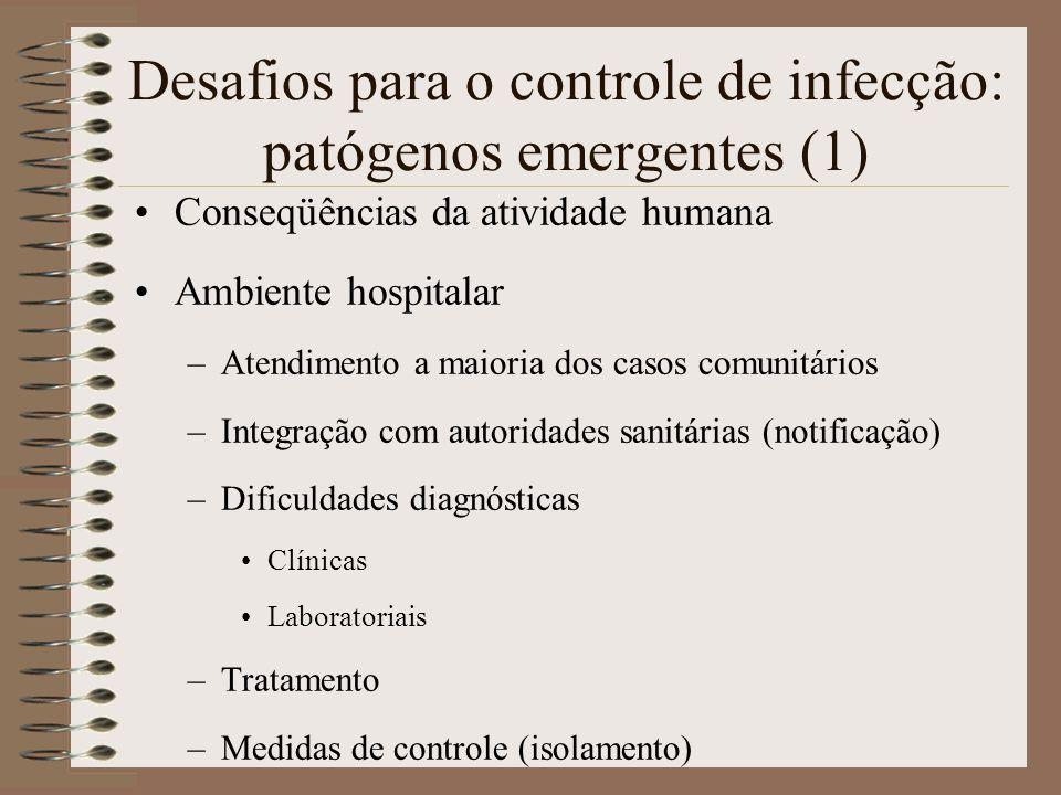 Desafios para o controle de infecção: patógenos emergentes (1) Conseqüências da atividade humana Ambiente hospitalar –Atendimento a maioria dos casos
