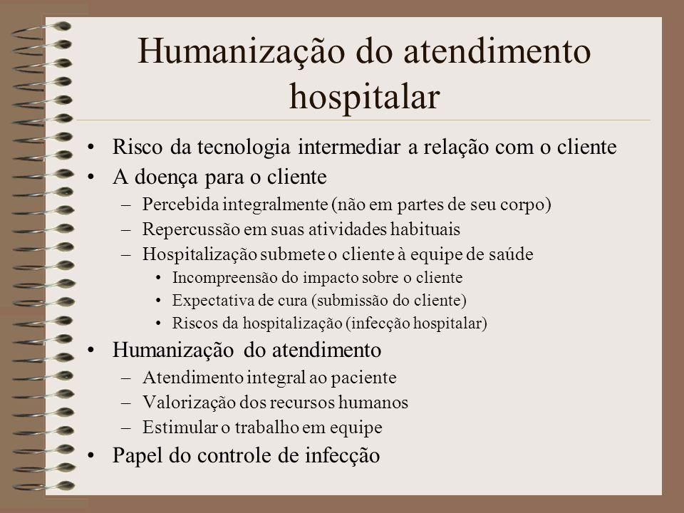 Humanização do atendimento hospitalar Risco da tecnologia intermediar a relação com o cliente A doença para o cliente –Percebida integralmente (não em