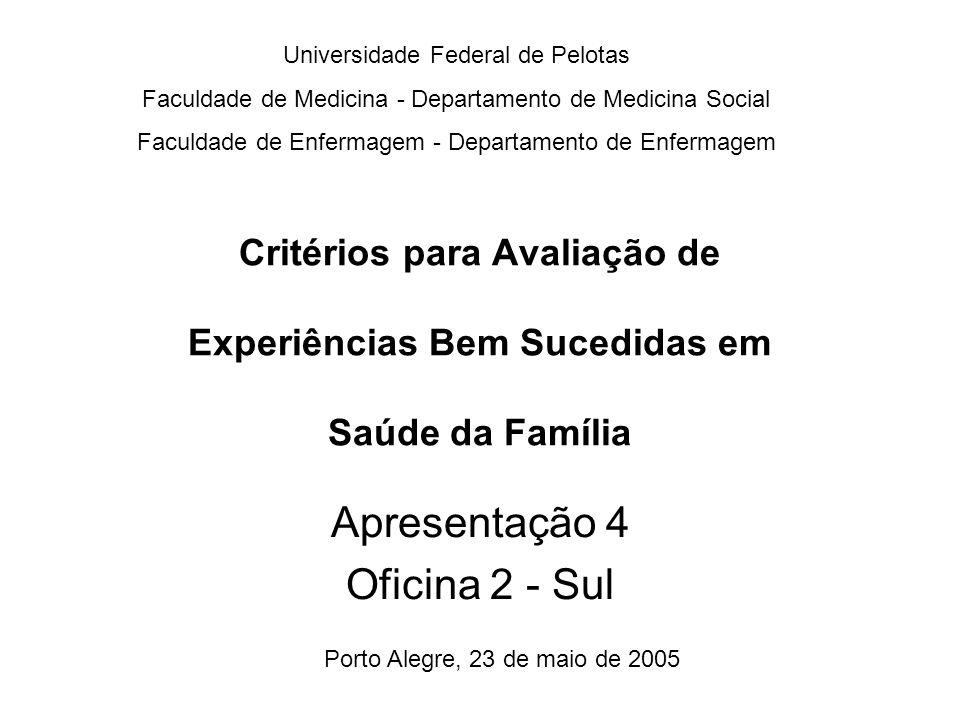 Critérios para Avaliação de Experiências Bem Sucedidas em Saúde da Família Universidade Federal de Pelotas Faculdade de Medicina - Departamento de Med
