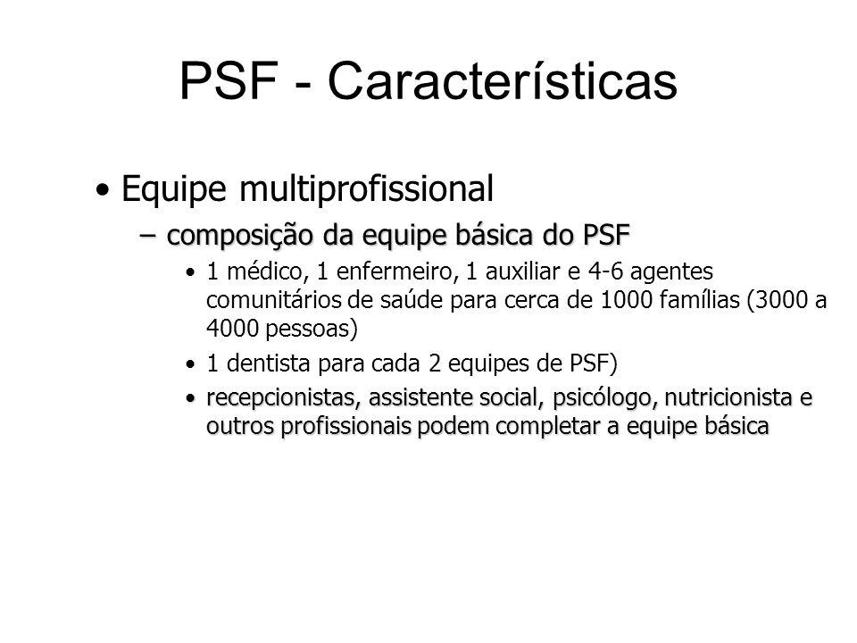 Equipe multiprofissional –composição da equipe básica do PSF 1 médico, 1 enfermeiro, 1 auxiliar e 4-6 agentes comunitários de saúde para cerca de 1000