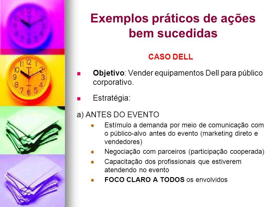 Exemplos práticos de ações bem sucedidas CASO DELL Objetivo: Vender equipamentos Dell para público corporativo. Estratégia: a) ANTES DO EVENTO Estímul
