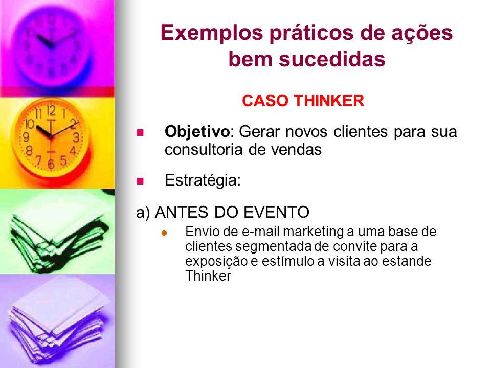 Exemplos práticos de ações bem sucedidas CASO THINKER Objetivo: Gerar novos clientes para sua consultoria de vendas Estratégia: a) ANTES DO EVENTO Env
