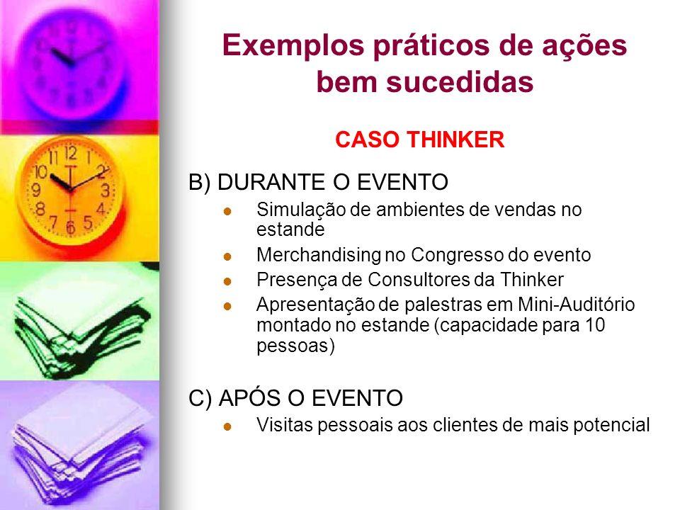 Exemplos práticos de ações bem sucedidas CASO THINKER B) DURANTE O EVENTO Simulação de ambientes de vendas no estande Merchandising no Congresso do ev