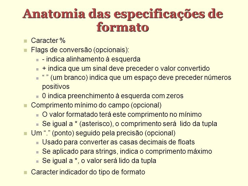 Anatomia das especificações de formato Caracter % Flags de conversão (opcionais): - indica alinhamento à esquerda + indica que um sinal deve preceder