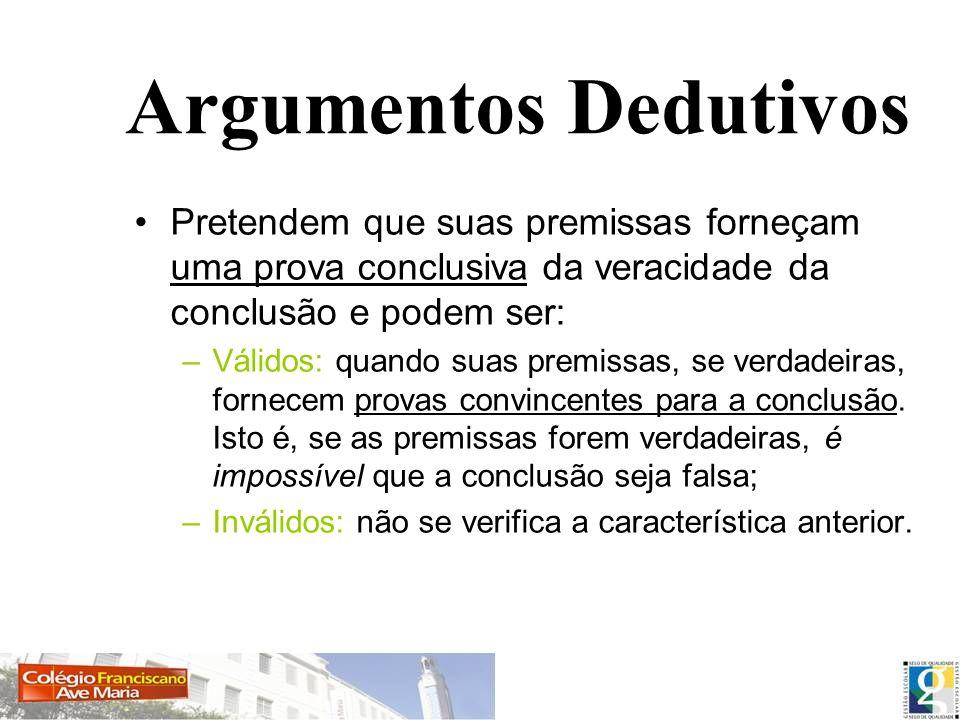 Argumentos Dedutivos Pretendem que suas premissas forneçam uma prova conclusiva da veracidade da conclusão e podem ser: –Válidos: quando suas premissa