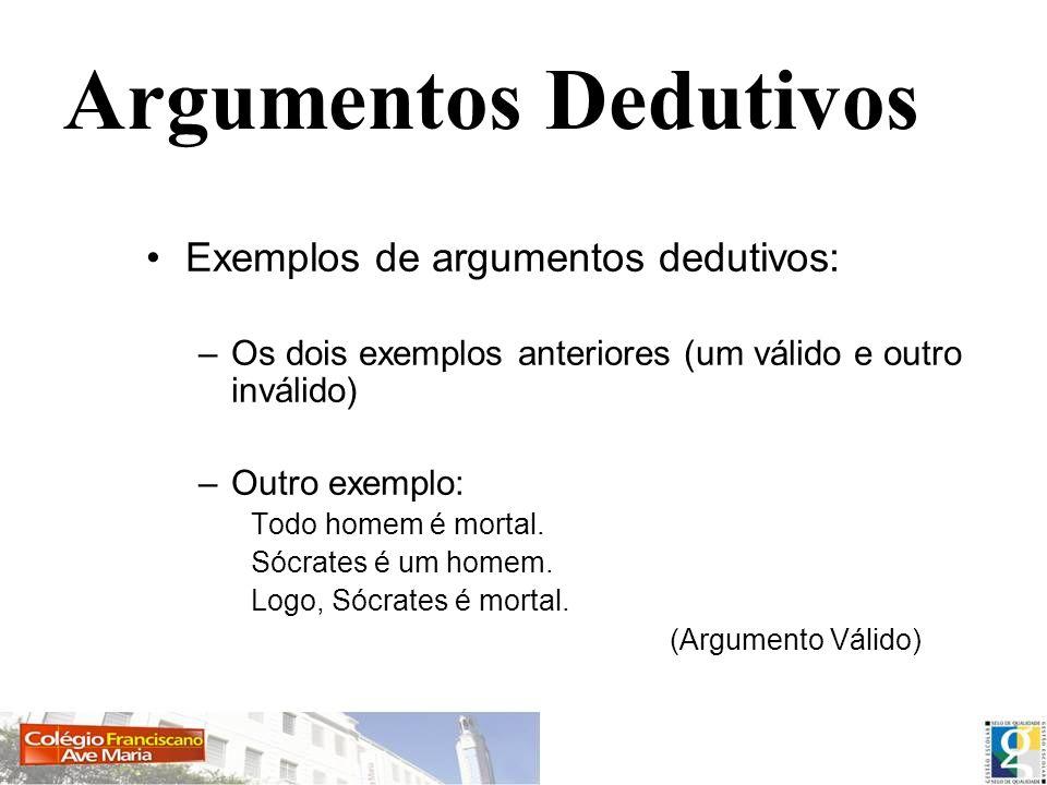 Argumentos Dedutivos Exemplos de argumentos dedutivos: –Os dois exemplos anteriores (um válido e outro inválido) –Outro exemplo: Todo homem é mortal.