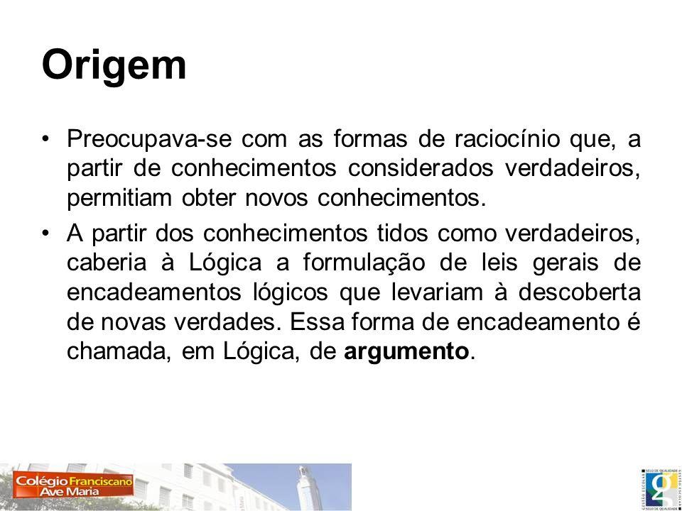 Origem Preocupava-se com as formas de raciocínio que, a partir de conhecimentos considerados verdadeiros, permitiam obter novos conhecimentos. A parti