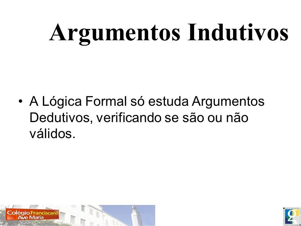 Argumentos Indutivos A Lógica Formal só estuda Argumentos Dedutivos, verificando se são ou não válidos.