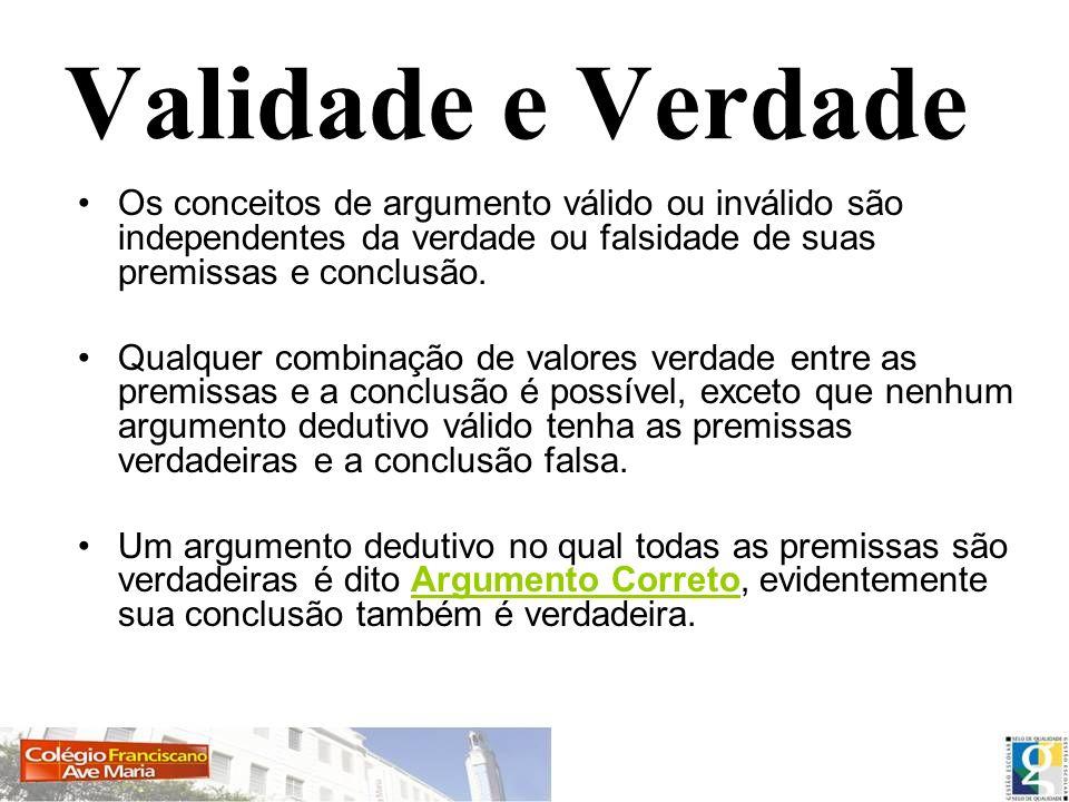 Validade e Verdade Os conceitos de argumento válido ou inválido são independentes da verdade ou falsidade de suas premissas e conclusão. Qualquer comb