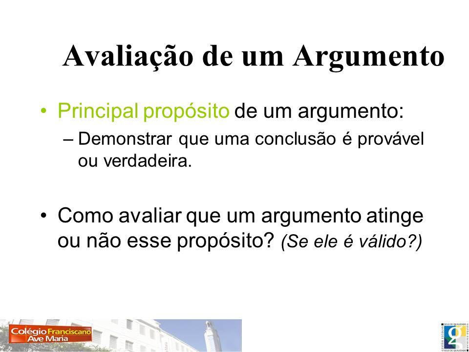 Avaliação de um Argumento Principal propósito de um argumento: –Demonstrar que uma conclusão é provável ou verdadeira. Como avaliar que um argumento a