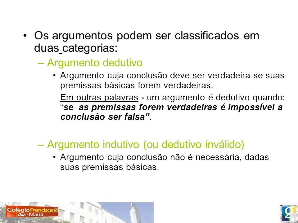 Os argumentos podem ser classificados em duas categorias: –Argumento dedutivo Argumento cuja conclusão deve ser verdadeira se suas premissas básicas f