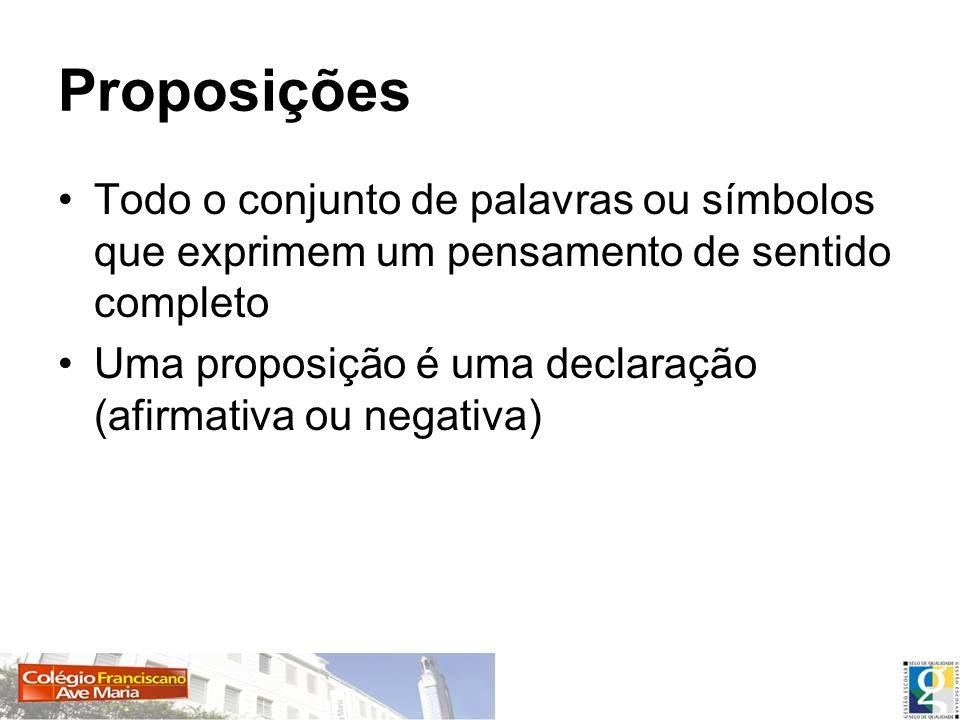 Proposições Todo o conjunto de palavras ou símbolos que exprimem um pensamento de sentido completo Uma proposição é uma declaração (afirmativa ou nega