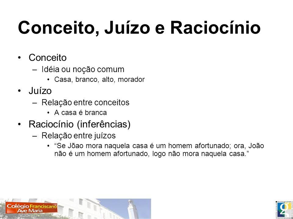 Conceito, Juízo e Raciocínio Conceito –Idéia ou noção comum Casa, branco, alto, morador Juízo –Relação entre conceitos A casa é branca Raciocínio (inf