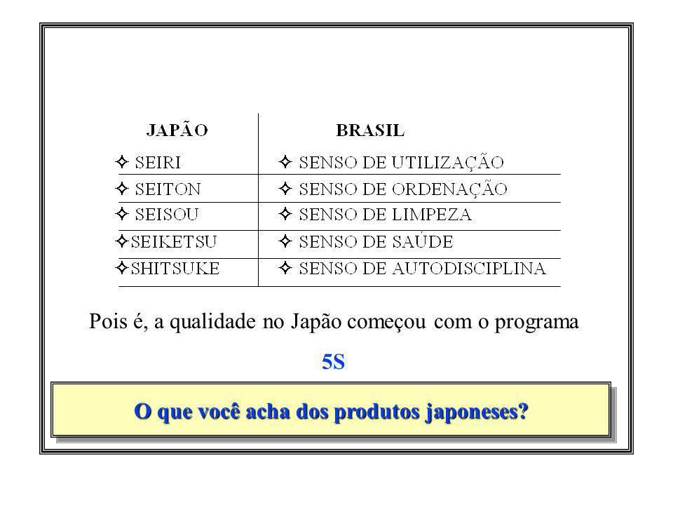 O que você acha dos produtos japoneses? Pois é, a qualidade no Japão começou com o programa 5S