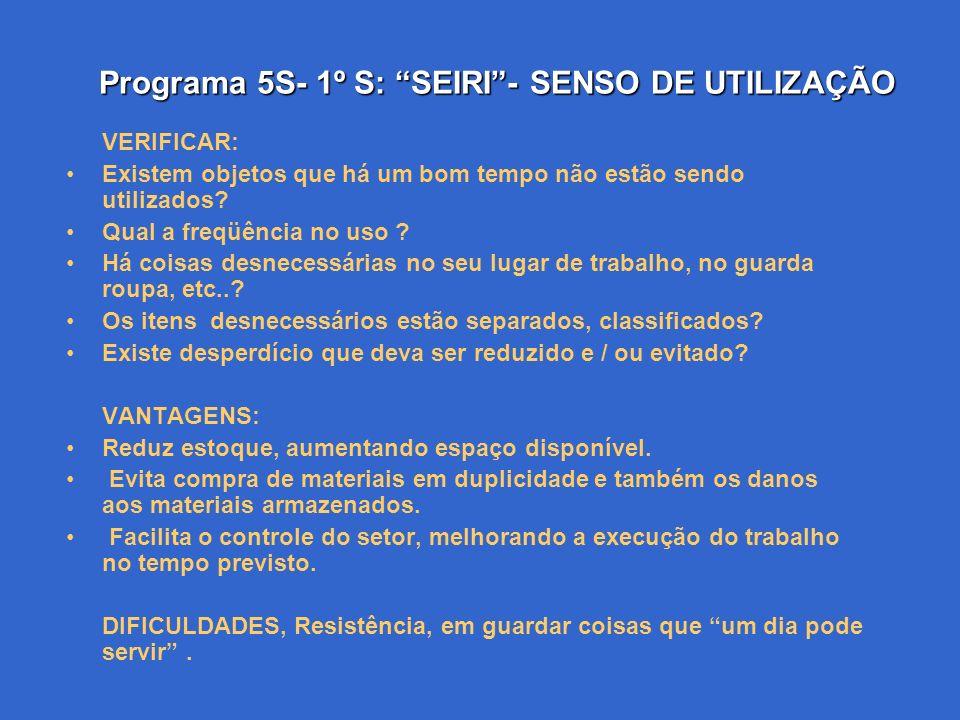 Programa 5S- 1º S: SEIRI- SENSO DE UTILIZAÇÃO Todos devemos ter noção dos recursos disponíveis a nossa volta, logo deve-se saber separar as coisas nec