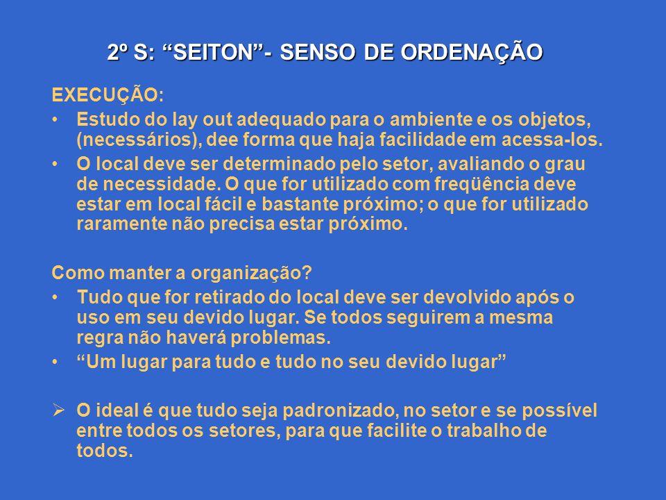 2º S: SEITON- SENSO DE ORDENAÇÃO Ordenar é agrupar as coisas necessárias, acordo com a facilidade de acessa-las, levando em conta a freqüência lógica