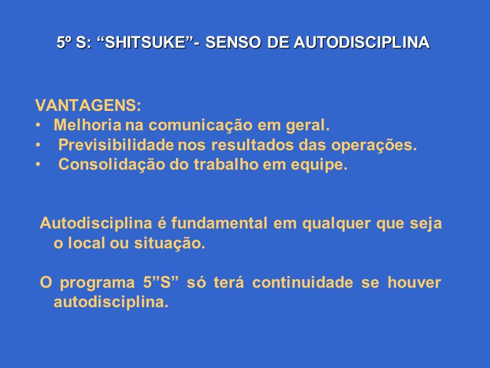 5º S: SHITSUKE- SENSO DE AUTODISCIPLINA Ter autodisciplina é cumprir rigorosamente as normas e tudo o que for estabelecido pelo grupo, é ter respeito