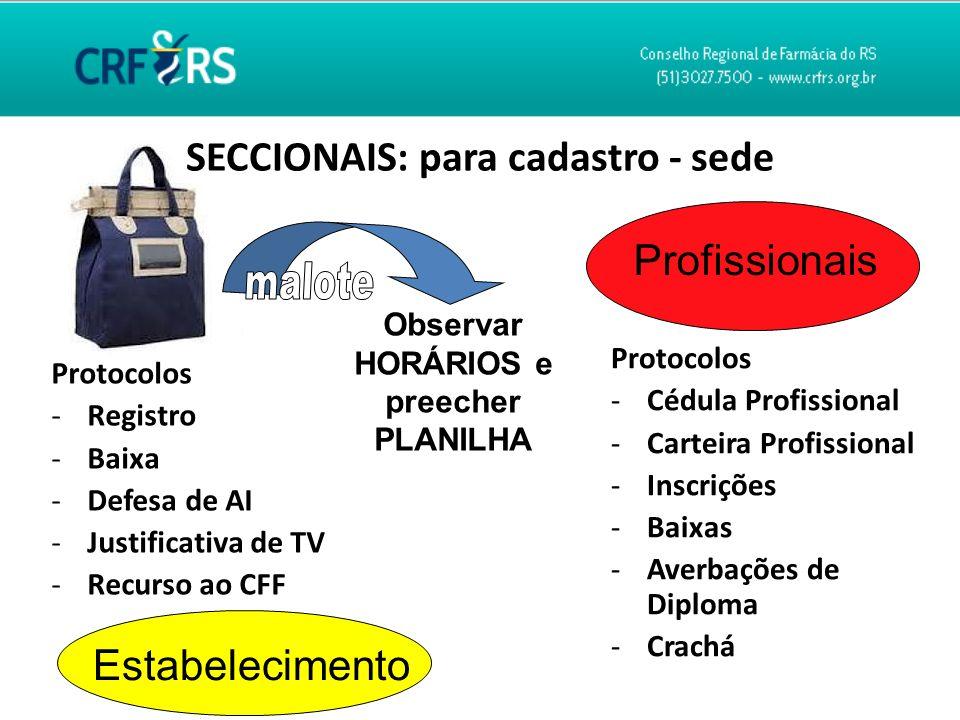SECCIONAIS: para cadastro - sede Protocolos -Cédula Profissional -Carteira Profissional -Inscrições -Baixas -Averbações de Diploma -Crachá Profissiona