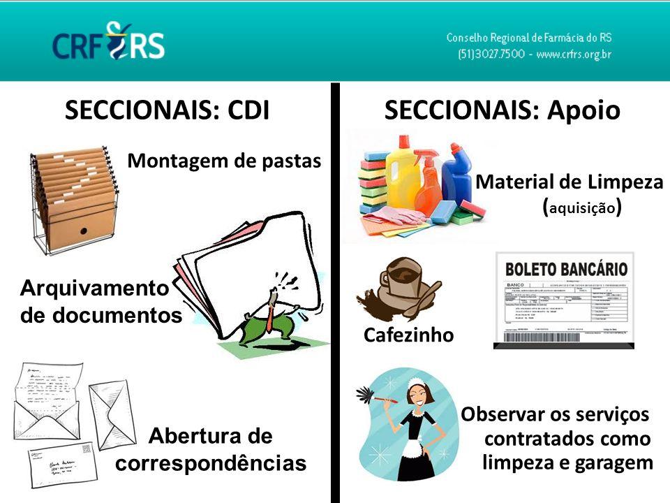 SECCIONAIS: CDI Montagem de pastas SECCIONAIS: Apoio Abertura de correspondências Arquivamento de documentos Material de Limpeza ( aquisição ) Cafezin
