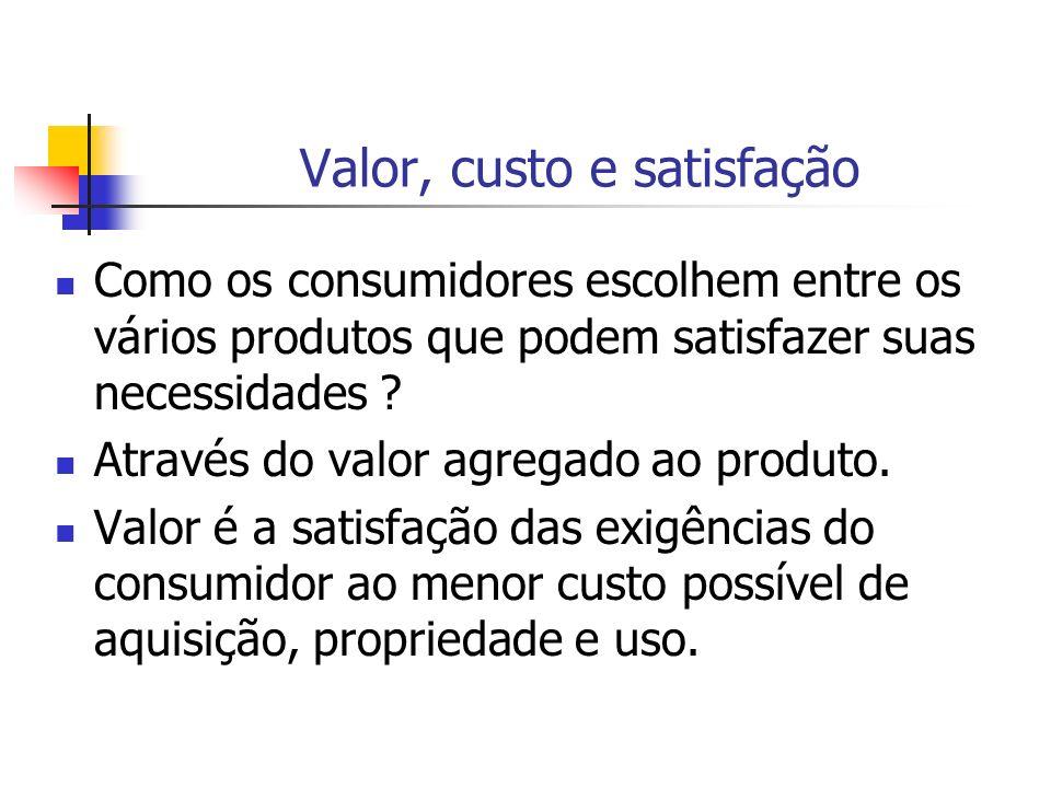 Valor, custo e satisfação Como os consumidores escolhem entre os vários produtos que podem satisfazer suas necessidades ? Através do valor agregado ao
