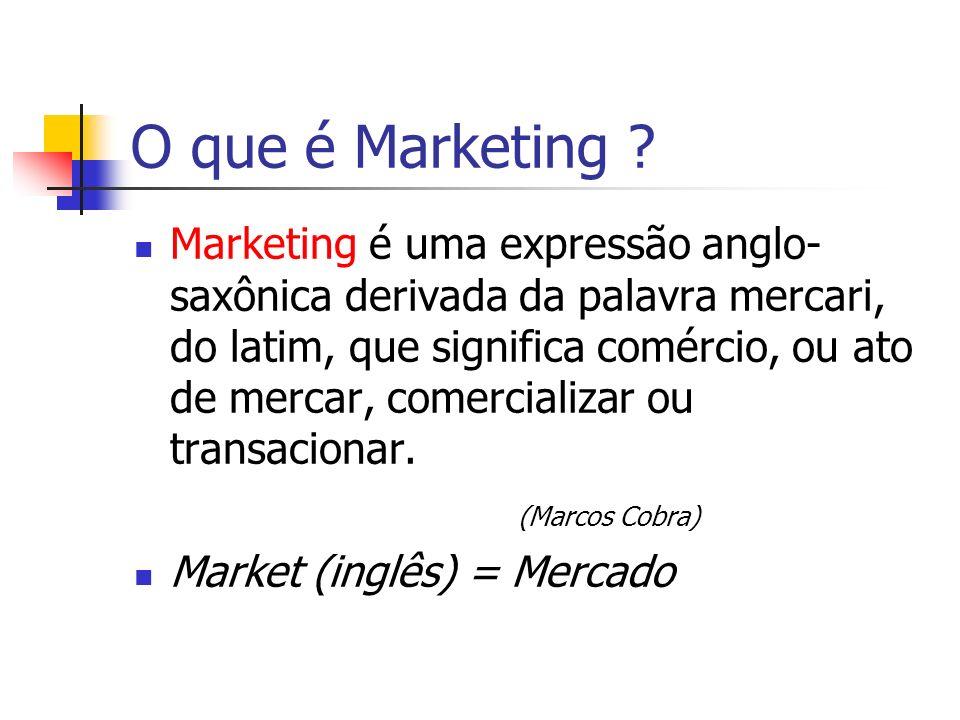O que é Marketing ? Marketing é uma expressão anglo- saxônica derivada da palavra mercari, do latim, que significa comércio, ou ato de mercar, comerci