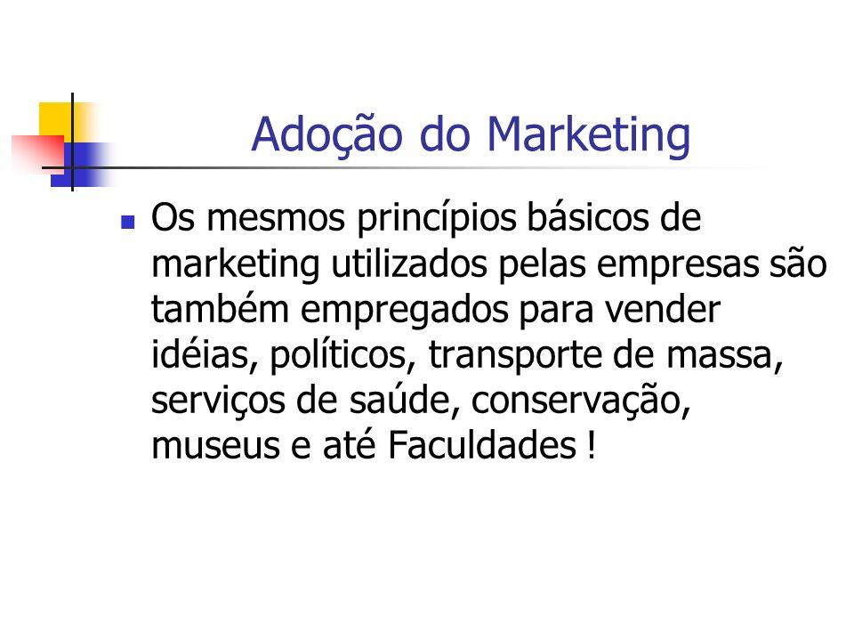 Adoção do Marketing Os mesmos princípios básicos de marketing utilizados pelas empresas são também empregados para vender idéias, políticos, transport