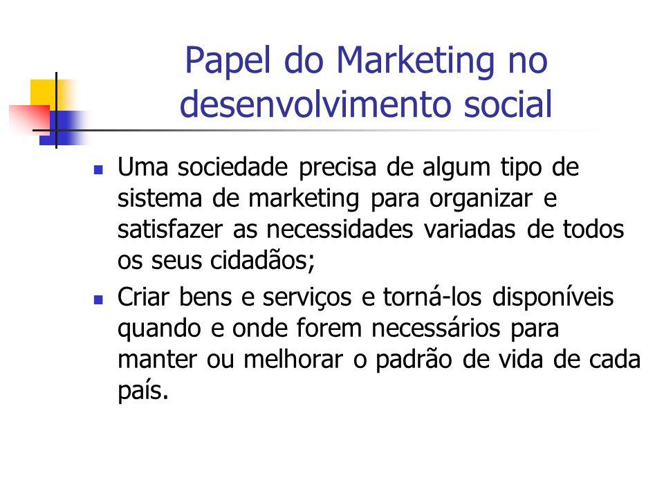 Papel do Marketing no desenvolvimento social Uma sociedade precisa de algum tipo de sistema de marketing para organizar e satisfazer as necessidades v