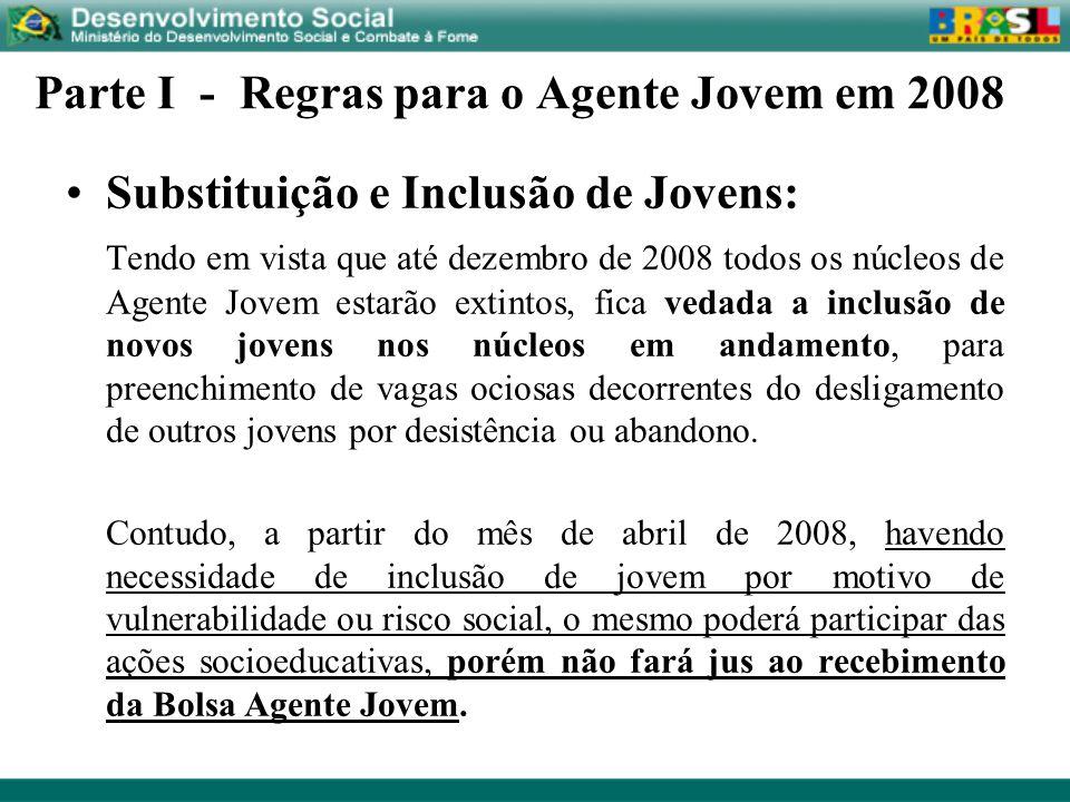 Parte I - Regras para o Agente Jovem em 2008 Substituição e Inclusão de Jovens: Tendo em vista que até dezembro de 2008 todos os núcleos de Agente Jov