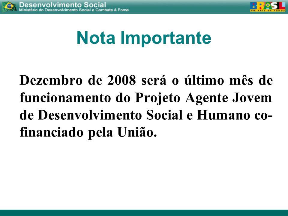 Nota Importante Dezembro de 2008 será o último mês de funcionamento do Projeto Agente Jovem de Desenvolvimento Social e Humano co- financiado pela Uni